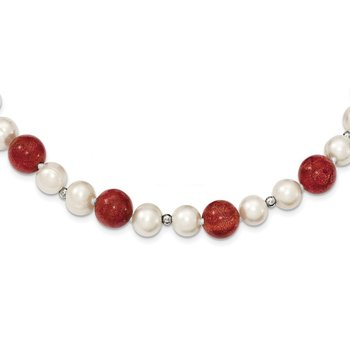 Sterling Silver FW Cultured Pearls/Stabilized Red Coral Necklace