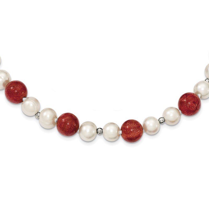 Quality Gold Sterling Silver FW Cultured Pearls/Stabilized Red Coral Necklace