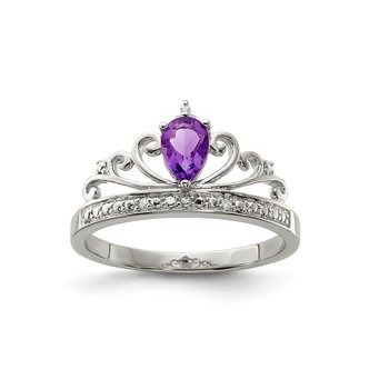 Sterling Silver Rhodium Plated Diamond & Amethyst Teardrop Ring