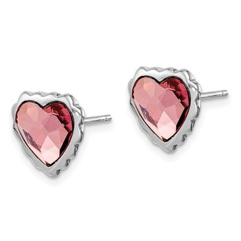 Sterling Silver Rhodium-plated Pink Crystal Heart Post Earrings