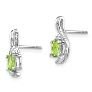 14k White Gold Peridot and Diamond Post Earrings