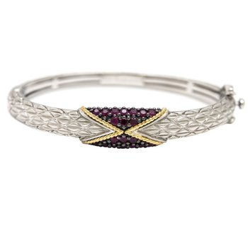 18kt & Sterling Silver Ruby Bangle