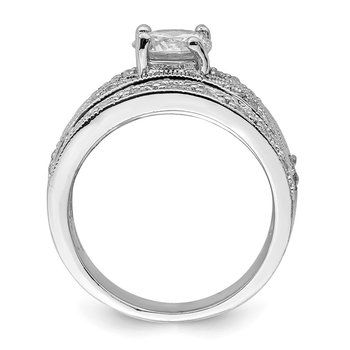 Sterling Silver CZ Clear Center Round Wedding Ring
