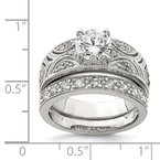 Quality Gold Sterling Silver CZ Clear Center Round Wedding Ring