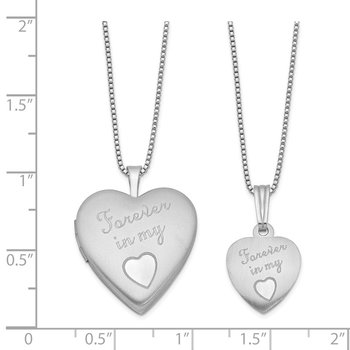 SS RH-plated Satin Forever in My Heart Locket & Pendant Necklace Set