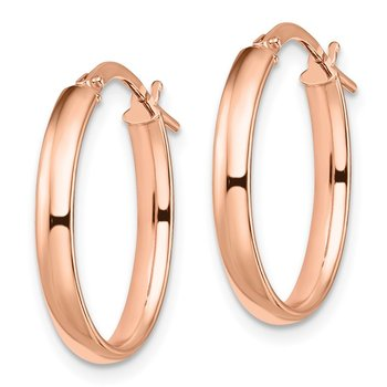 Leslie's 14k Rose Gold Polished Oval Hoop Earrings