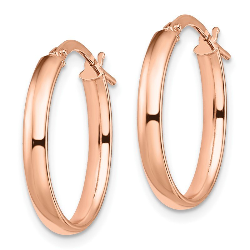 Leslie's Leslie's 14k Rose Gold Polished Oval Hoop Earrings