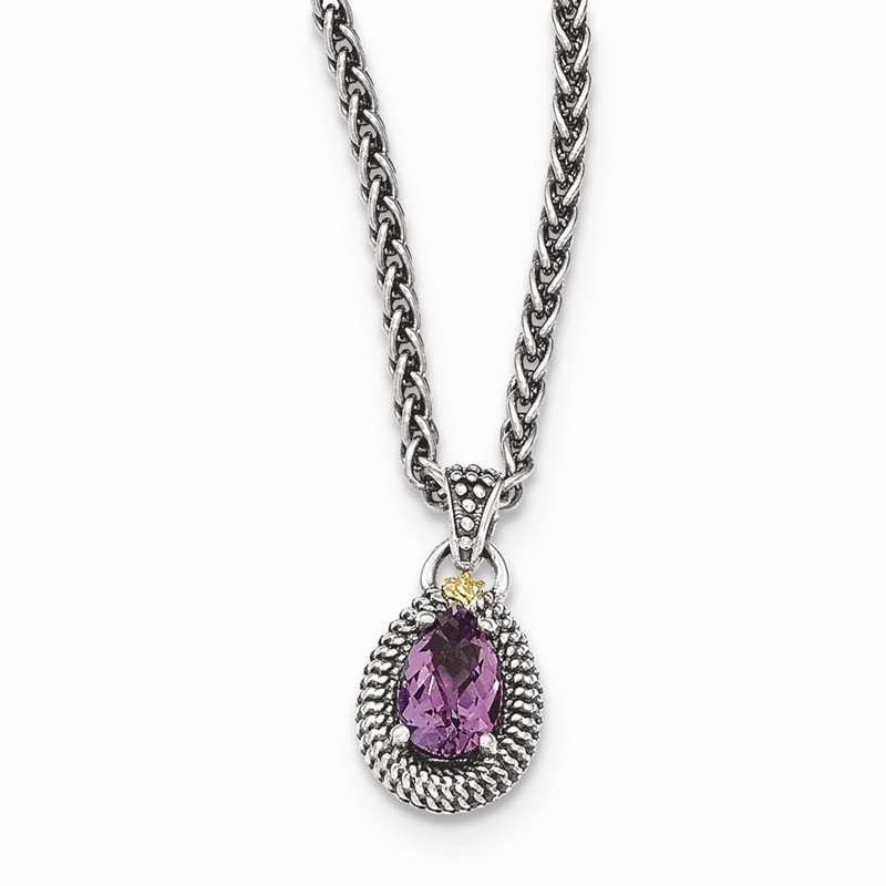 Shey Couture Sterling Silver w/14ky Amethyst Pear Shaped Necklace