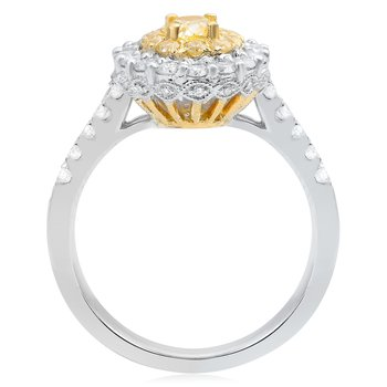 Double Halo Oval Cut Diamond Ring