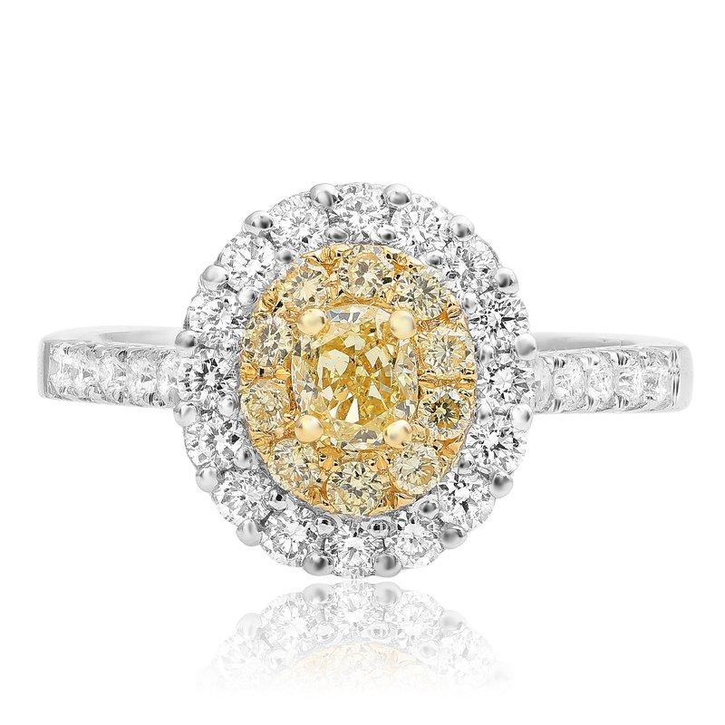 Double Halo Oval Cut Diamond Ring