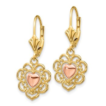 14K Two-tone Heart with Lace Trim Leverback Earrings