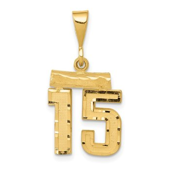 14k Small Diamond-cut Number 15 Charm