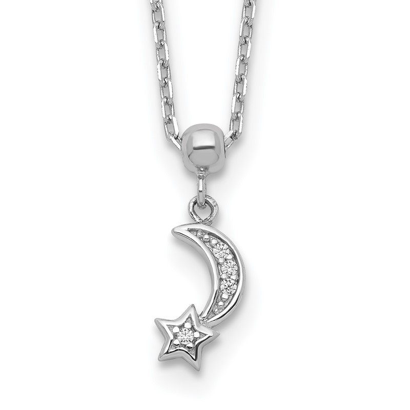 Quality Gold Sterling Silver CZ Moon and Star 16in w/2 in ext. Necklace