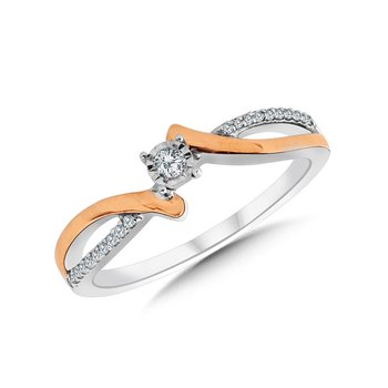 Round Two-Tone Twist Diamond Promise Ring