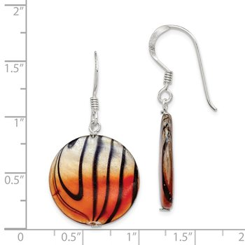 Sterling Silver Mother of Pearl Orange and Black Disc Earrings