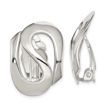 Sterling Silver Polished Clip-on Earrings