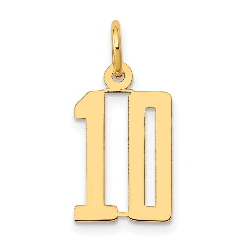 Quality Gold 14k Small Polished Elongated 10 Charm