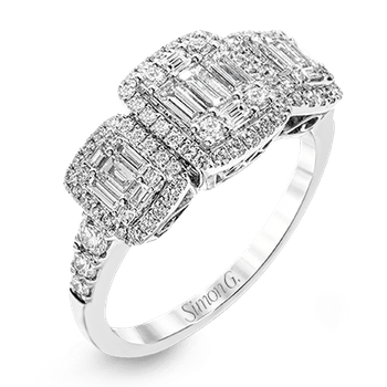 Simon G trinity style mosaic ring, 70=0.48ct of round diamonds and 15=0.44ct of baguette diamonds. Available at our Halifax store.