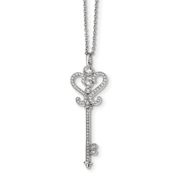 Sterling Silver & CZ Brilliant Embers Polished Key Necklace
