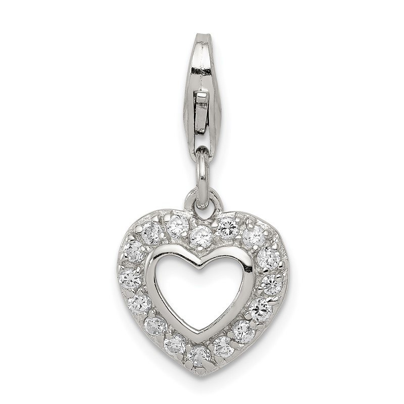 Quality Gold Sterling Silver CZ Heart Charm