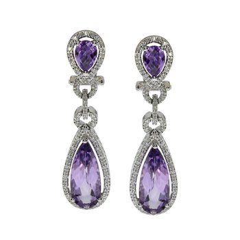 14k White Gold Pear Drop Amethyst And Diamond Earrings