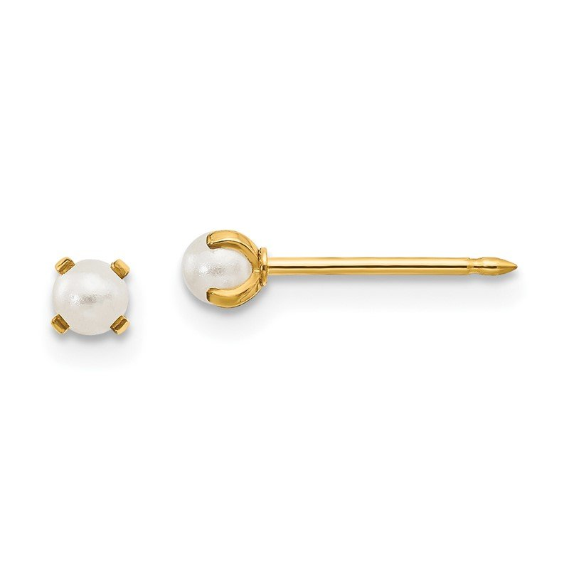 Quality Gold Inverness 14k 3mm Simulated Pearl Post Earrings