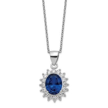 Cheryl M Sterling Silver CZ & Lab created Dark Blue Spinel 18 Necklace