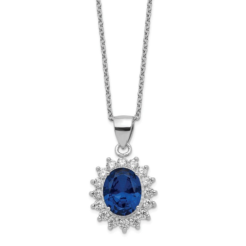 Cheryl M Cheryl M SS Rhodium Plated CZ & Created Dark Blue Spinel 18in Necklace