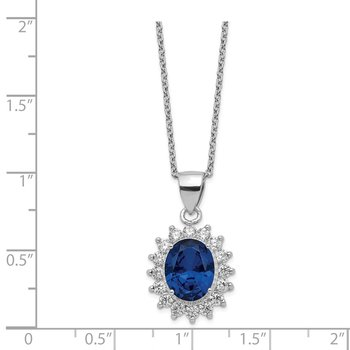 Cheryl M SS Rhodium Plated CZ & Created Dark Blue Spinel 18in Necklace