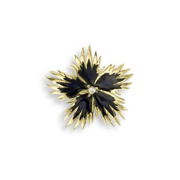 Black Rock Flower Pendant.18K -Diamond