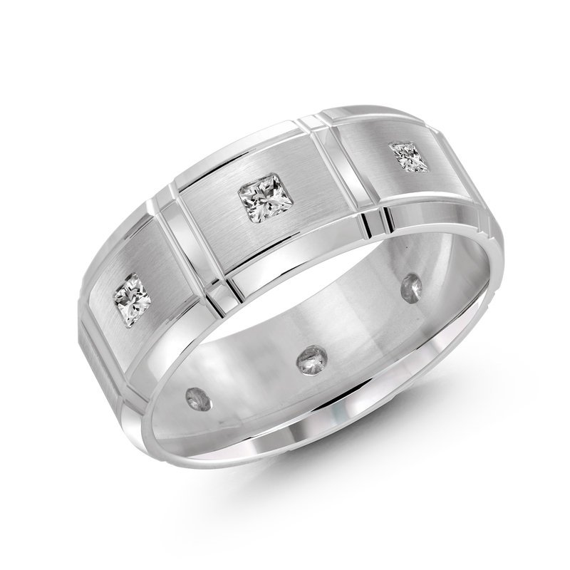 Mardini 8mm all white gold brick motif band, embelished with 8X0.05CT diamonds