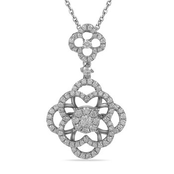 14K Flower motif Pendant 86 Diamonds 0.85C