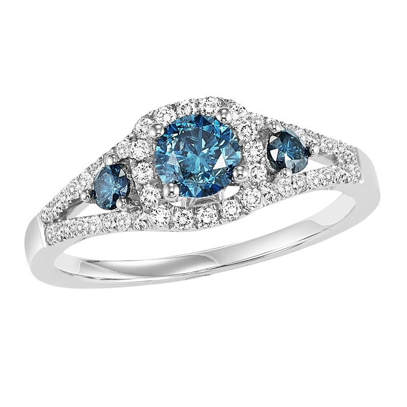 14K Diamond Blue & White Engagement Ring 1 ctw