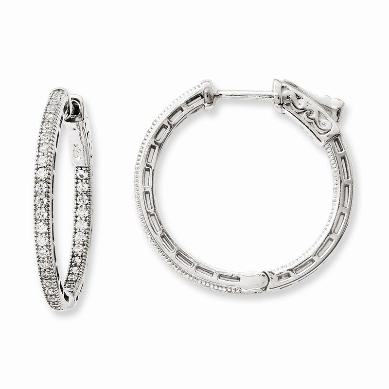 Quality Gold Sterling Silver Rhodium-plated CZ In and Out Hoop Earrings