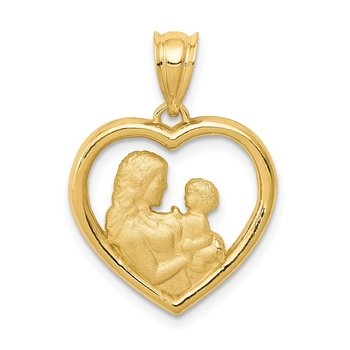 14k Polished and Satin Mom/Baby Heart Charm