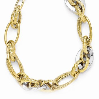 Leslie's 14k Two-tone Polished & Textured Fancy Link Necklace