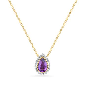 14K PS NECKLACE WITH 20 DIAMONDS 0.066CT & AMETHYST 0.40CT  18 INCHES LENGHT