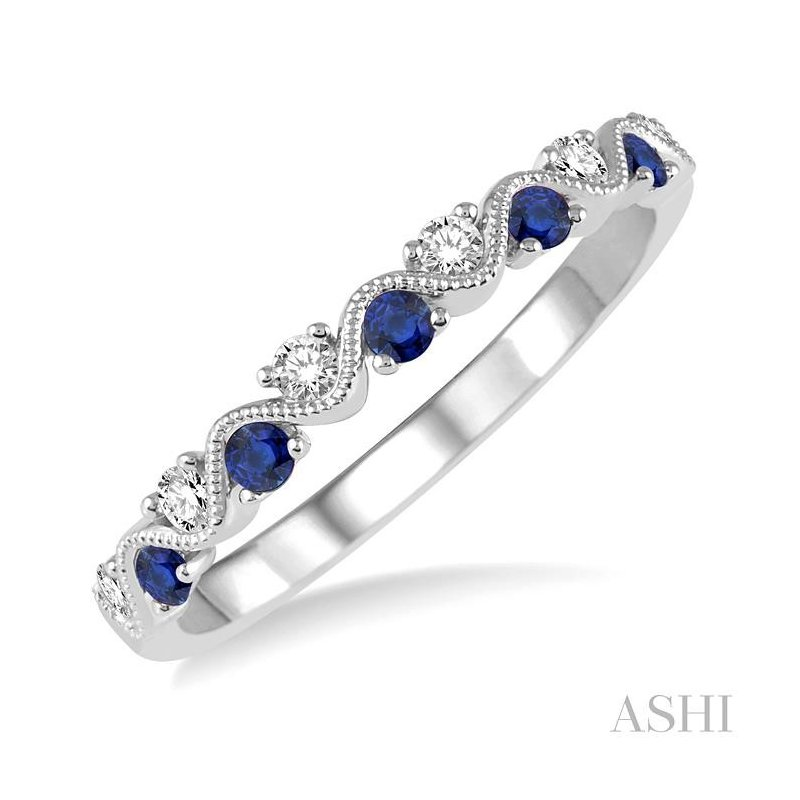 ASHI gemstone & diamond stackable ring