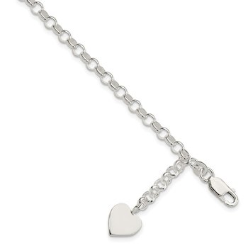 Sterling Silver Heart Dangle Bracelet