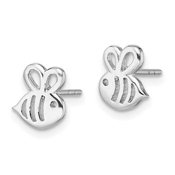 Sterling Silver Madi K RH Plated Bumble Bee Post Earrings