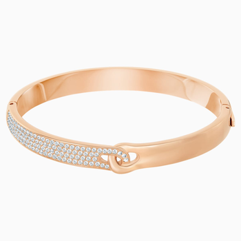 Gallon Narrow Bangle, White, Rose-gold tone plated