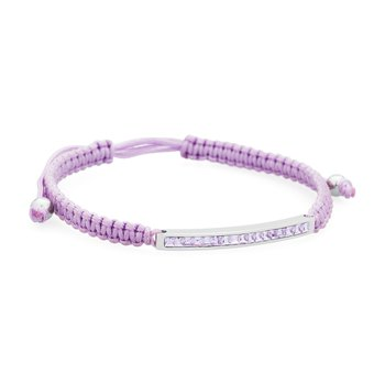 Bracelet. 316L stainless steel, lilac cotton macramé cord and violet Swarovski® Elements crystals