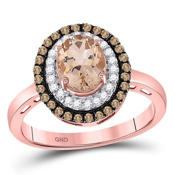 10kt Rose Gold Womens Oval Morganite Solitaire Diamond Fashion Ring 1-1/2 Cttw