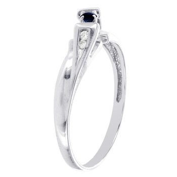 10k White Gold Sapphire and Diamond Promise Ring