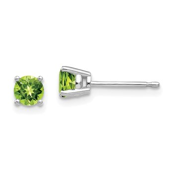 14k White Gold 4mm Peridot Earrings