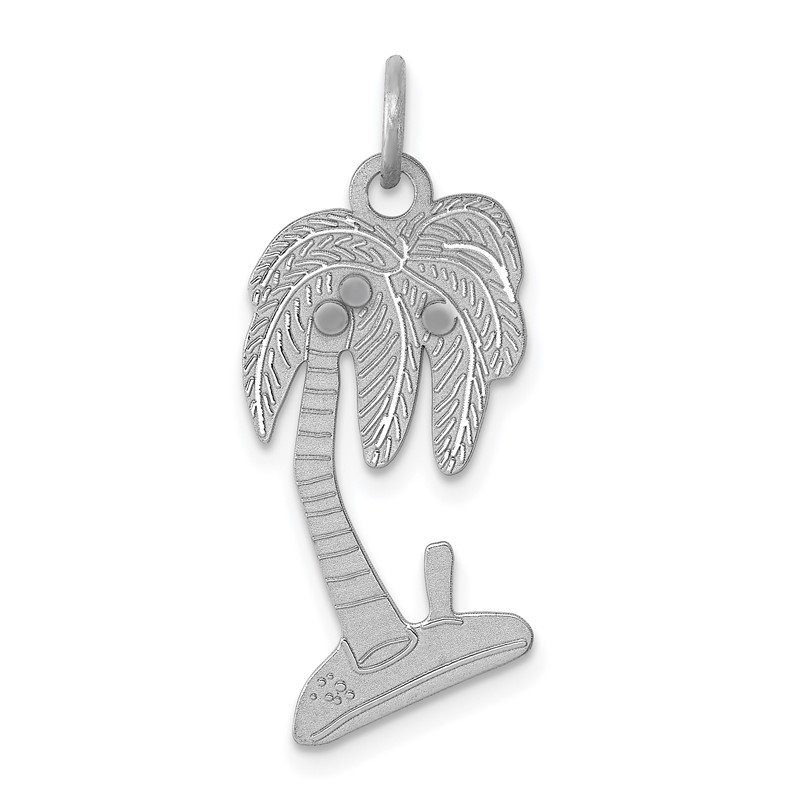 Quality Gold Sterling Silver Rhodium-plated Palm Tree Polished Charm