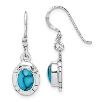 Sterling Silver Rhodium-plated Synthetic Turquoise Dangle Earring