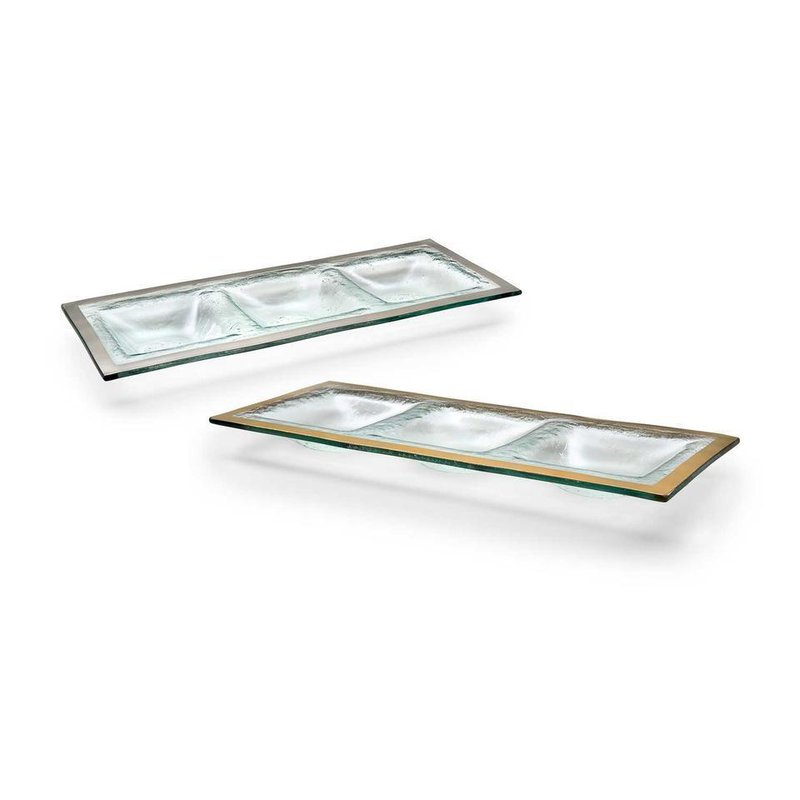 "Annieglass 14 x 5 ½"" three-section tray"