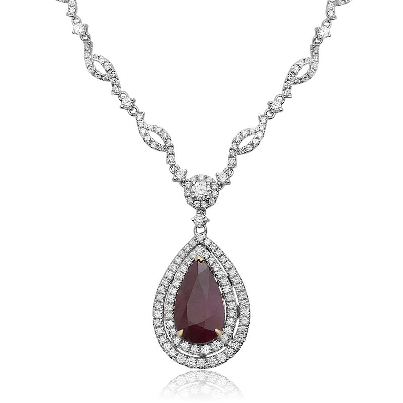 Roman & Jules Ruby & Diamond Drop Necklace