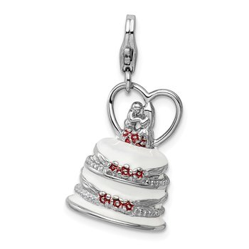 SS Rhodium-Plated 3-D Enameled Wedding Cake w/Lobster Clasp Charm